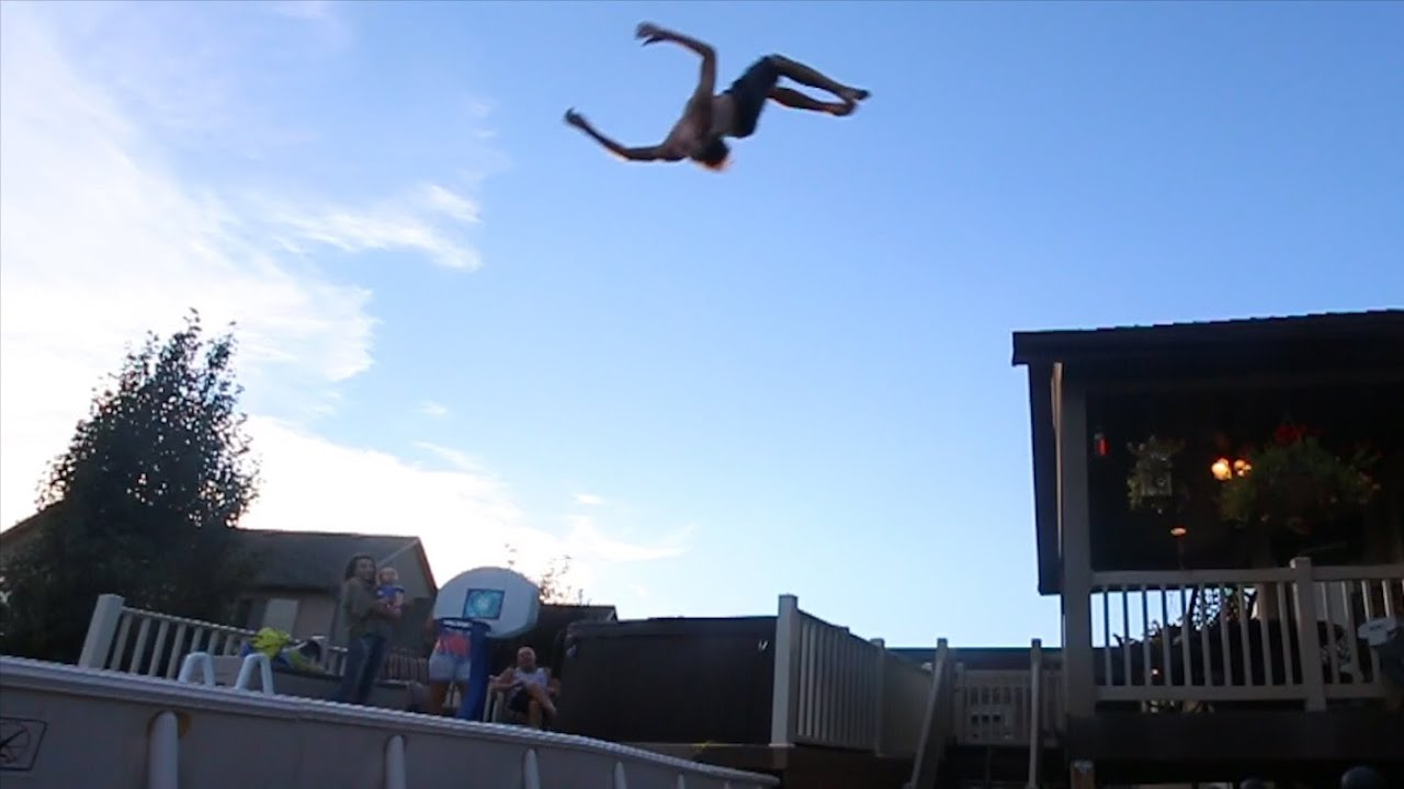 Trampoline Roof Jump Into Pool Youtube