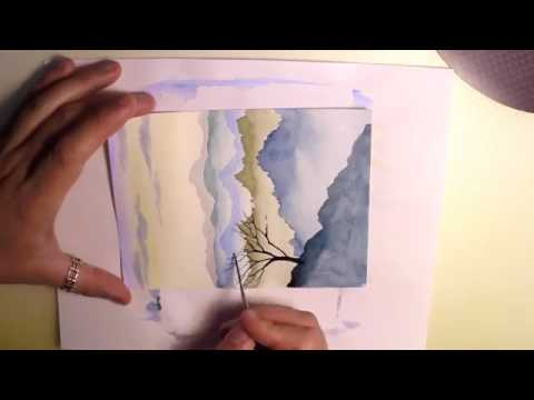 HOW TO PAINT MOUNTAINS LANDSCAPE WATERCOLOR PAINTING EASY STEP BY STEP TUTORIAL SKY TREE   10Youtube