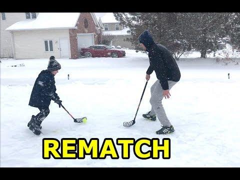 Kids HocKey Floorball Rematch on Outdoor Hockey Rink