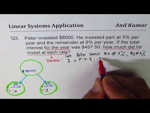 Q3 Investment Interest Linear System Word Problem