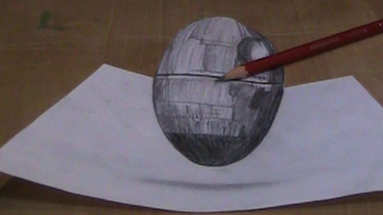 How To Draw A 3d Desktop Death Star Youtube