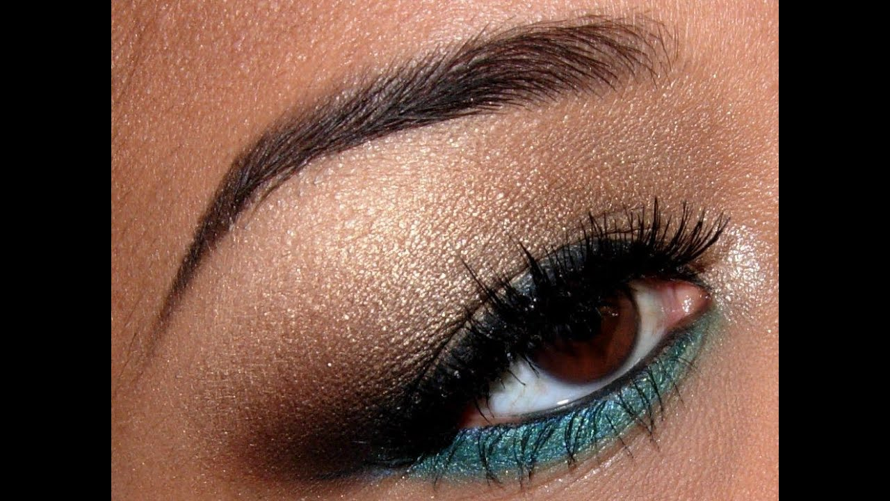 Simple Golden Brown and Turquoise eyeshadow tutorial! - YouTube