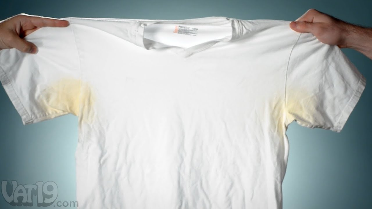 Remove pit stains from shirts with deo go youtube for Sweat stains on shirt