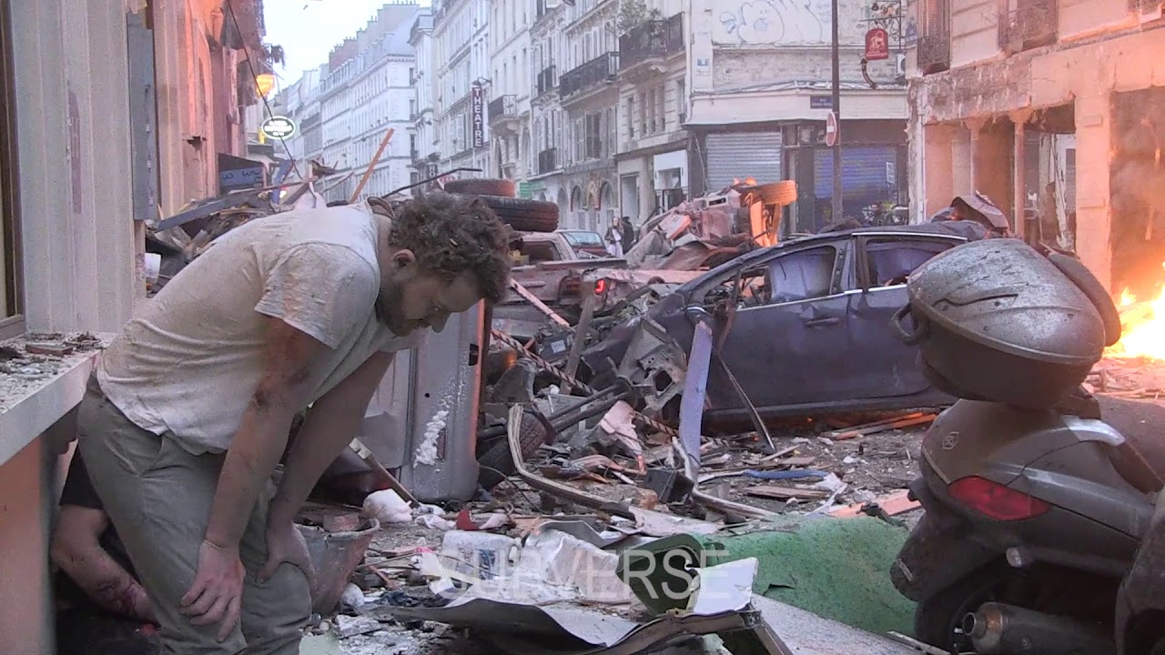 Explosion at Paris Bakery RAW FOOTAGE #1