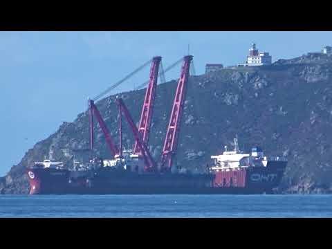 """Floating crane """"NJ BUSO DO CABO"""" of NAVIEIRA JALISIA, OFFSHORE fleet, at anchor CABO FISTERRA"""