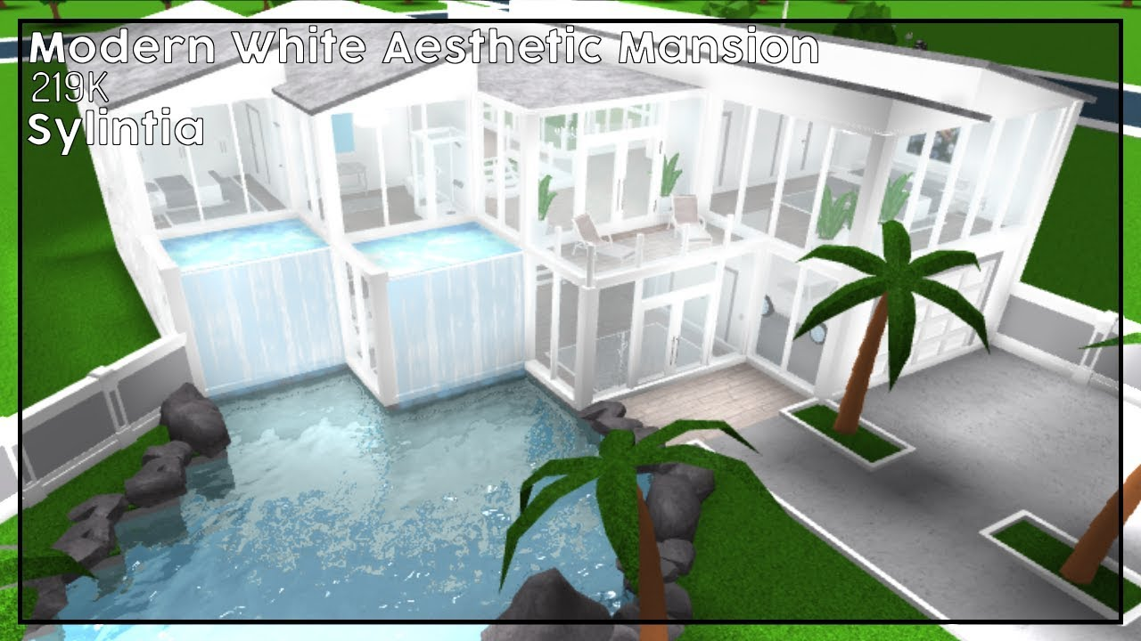 Modern white aesthetic mansion 219k bloxburg speedbuild
