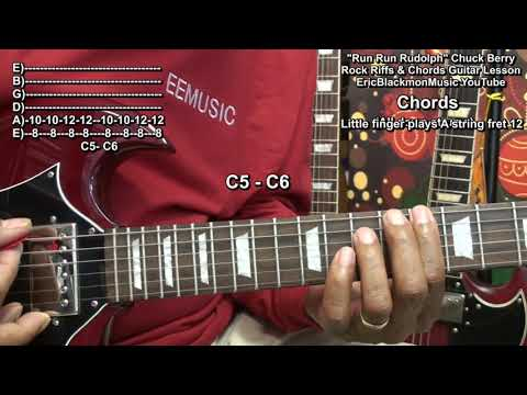 🎄 How To Play RUN RUN RUDOLPH Chuck Berry On Guitar Eric Blackmon Guitar