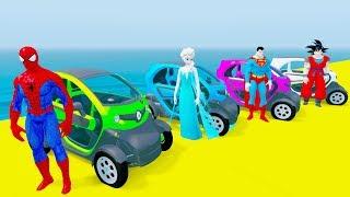 DIVERTIDO APRENDER los COLORES Mini ZB Coches SALTAR w Superhéroes Coches de dibujos animados Para Niños y Canciones para Niños