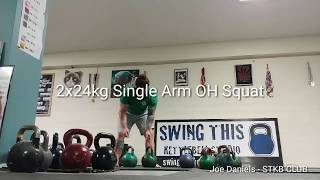 2x24kg Kettlebell Single Arm Overhead Squat