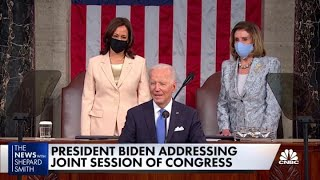 President Joe Biden on having a female VP and speaker sitting behind him
