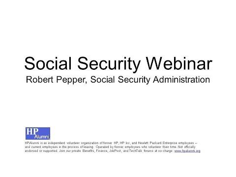 HP Alumni: Social Security Webinar - 2016