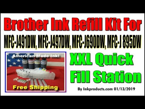 Ink Refill Kit For Brother MFC J491DW, MFC J497DW, MFC J690DW, MFC J895DW  XXL Quick Fill Station