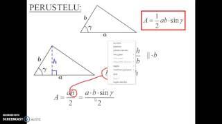 Kolmion alan trigonometrinen laskukaava