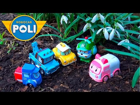 Машинки из мультика Робокар Поли и история с подснежниками - Развивающее видео с машинками Robocar