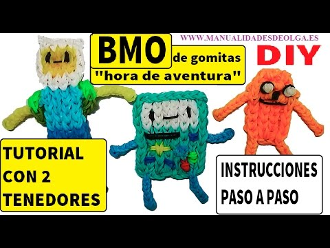 COMO HACER A BMO DE HORA DE AVENTURAS DE GOMITAS (LIGAS) CHARMS CON 2 TENEDORES