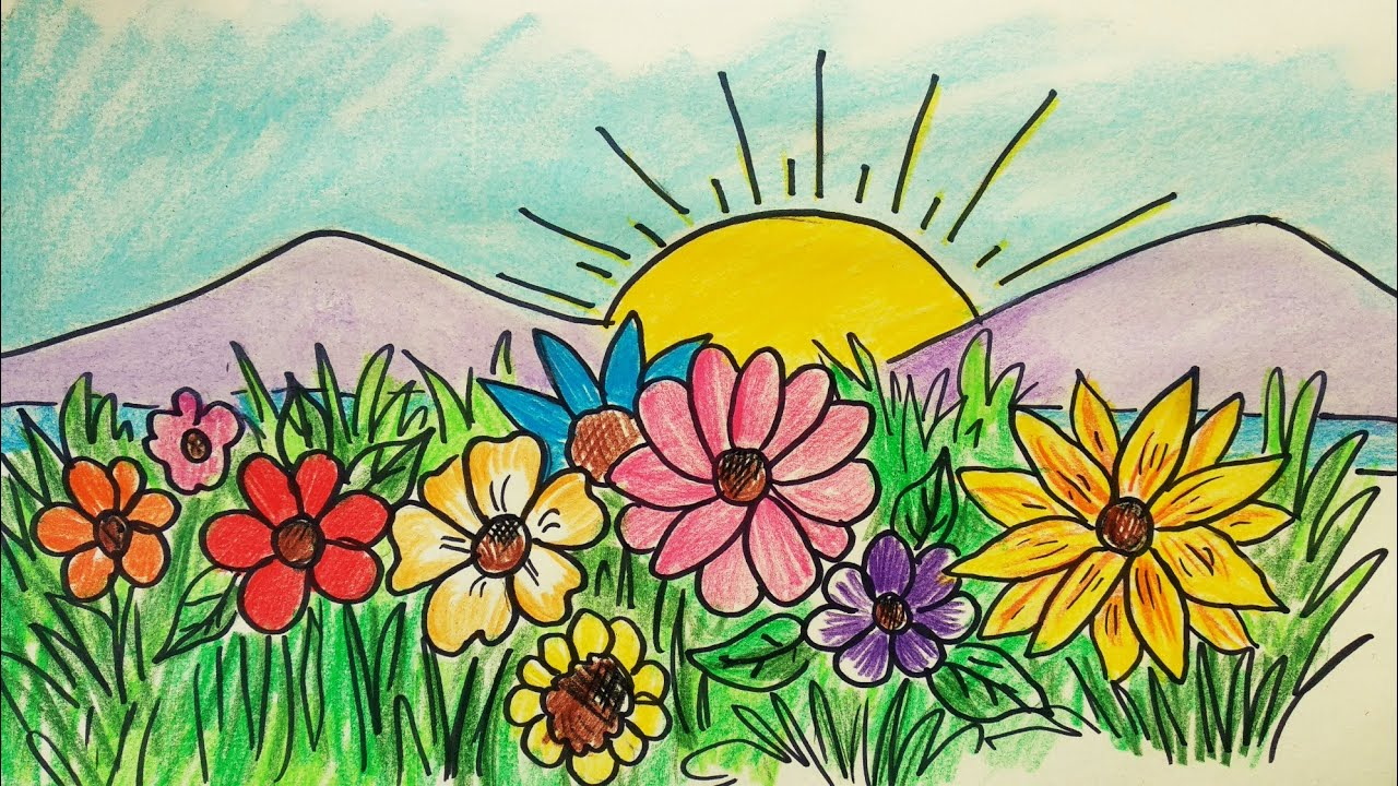How To Draw A Easy Scenery Flower Garden Scenery Drawing Spring Season Scenery Youtube