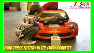 power wheel ride on putting the ford truck battery in the chevy corvette
