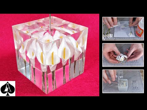 Calla Lilies Photo Holder Paperweight Cube | Foam Flowers in Epoxy Resin Tutorial