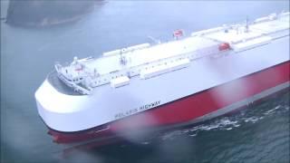 川崎汽船自動車運搬船 POLARIS HIGHWAY 来島海峡通航