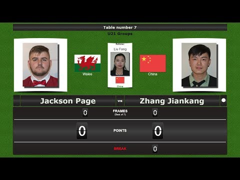 Snooker U21 Groups : Jackson Page vs Zhang Jiankang