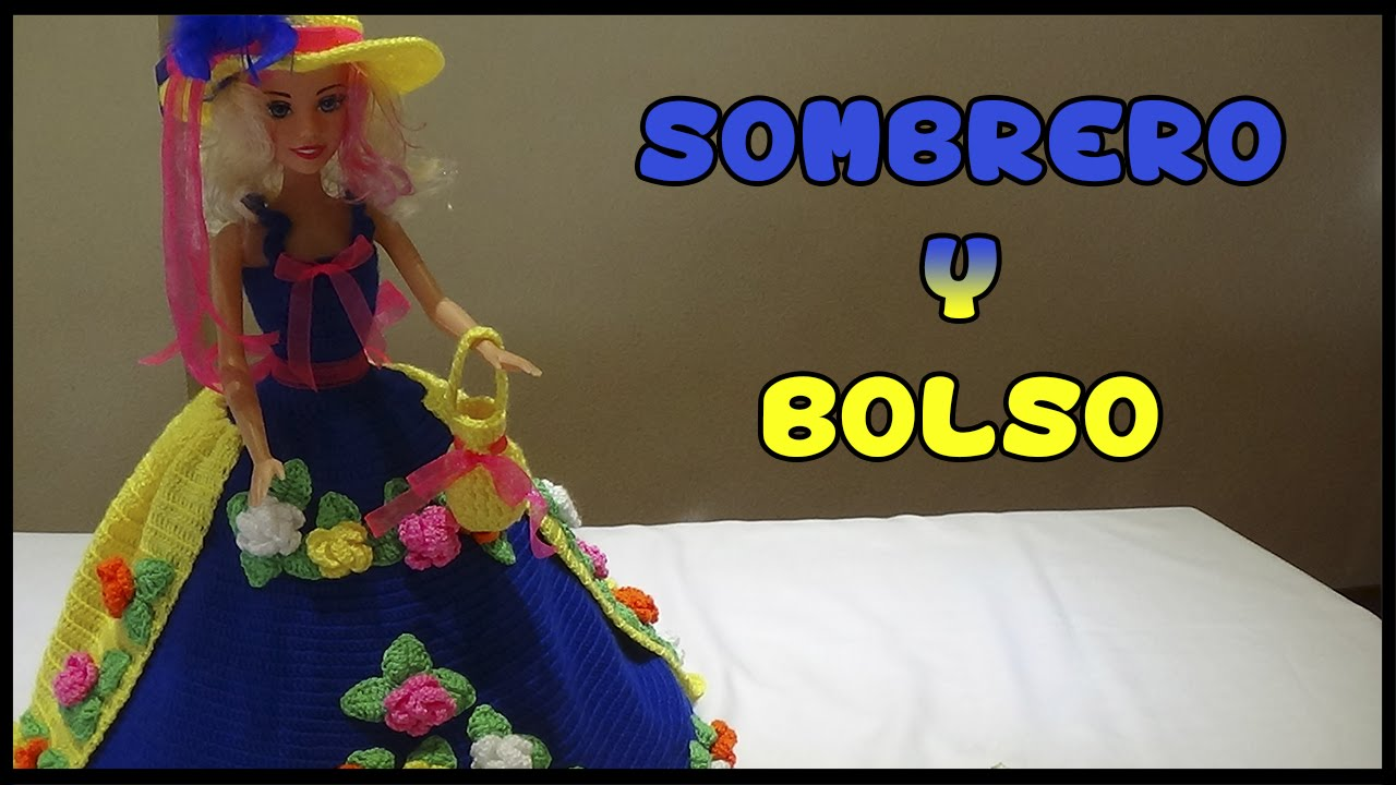Sombrero y Bolso a crochet para Muñeca - YouTube