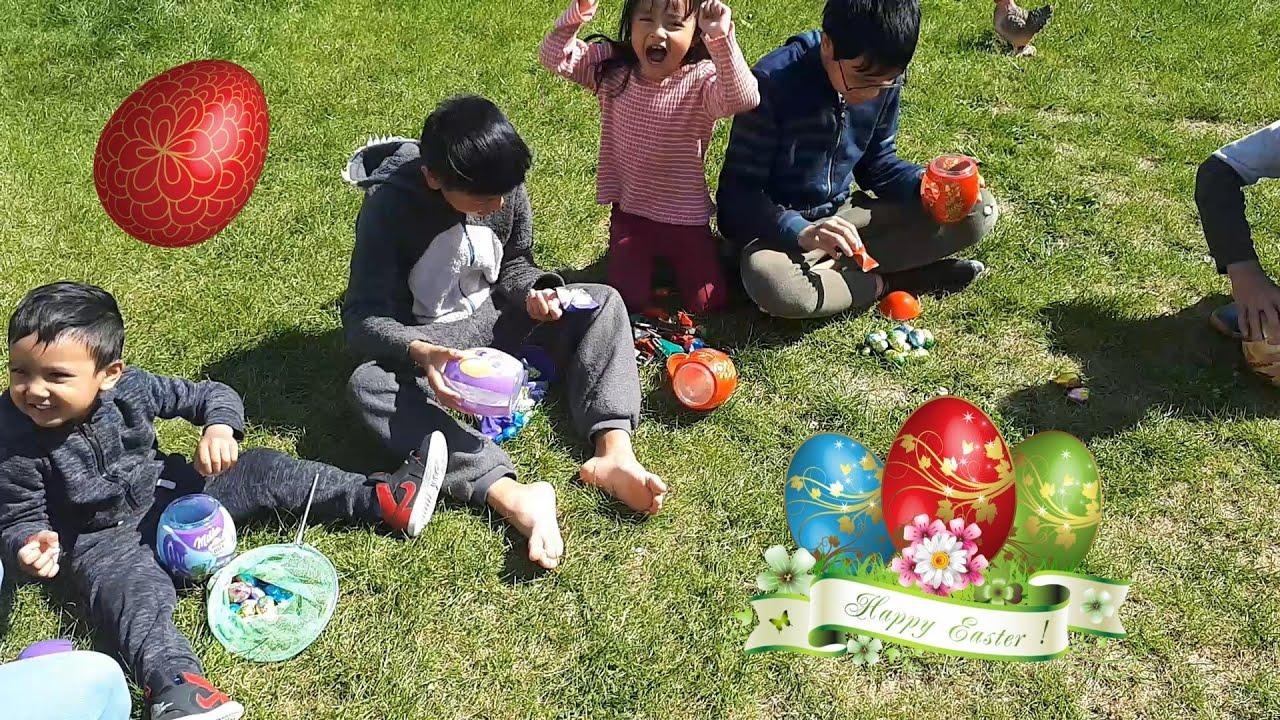kid play easter egg hunt ,enfants jouent chasse au oeufs de paques
