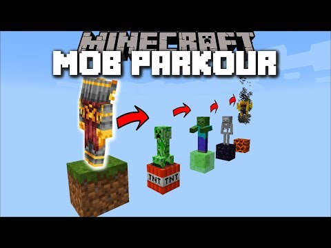 Minecraft MOB PARKOUR MOD / SPAWN A ZOMBIE, SKELETON, OR CREEPER !! Minecraft thumbnail