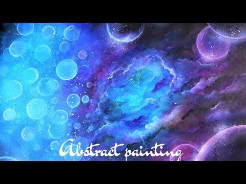 Acrylic abstract art tutorial- Space storm. How to blend acrylics, abstract painting techniques.