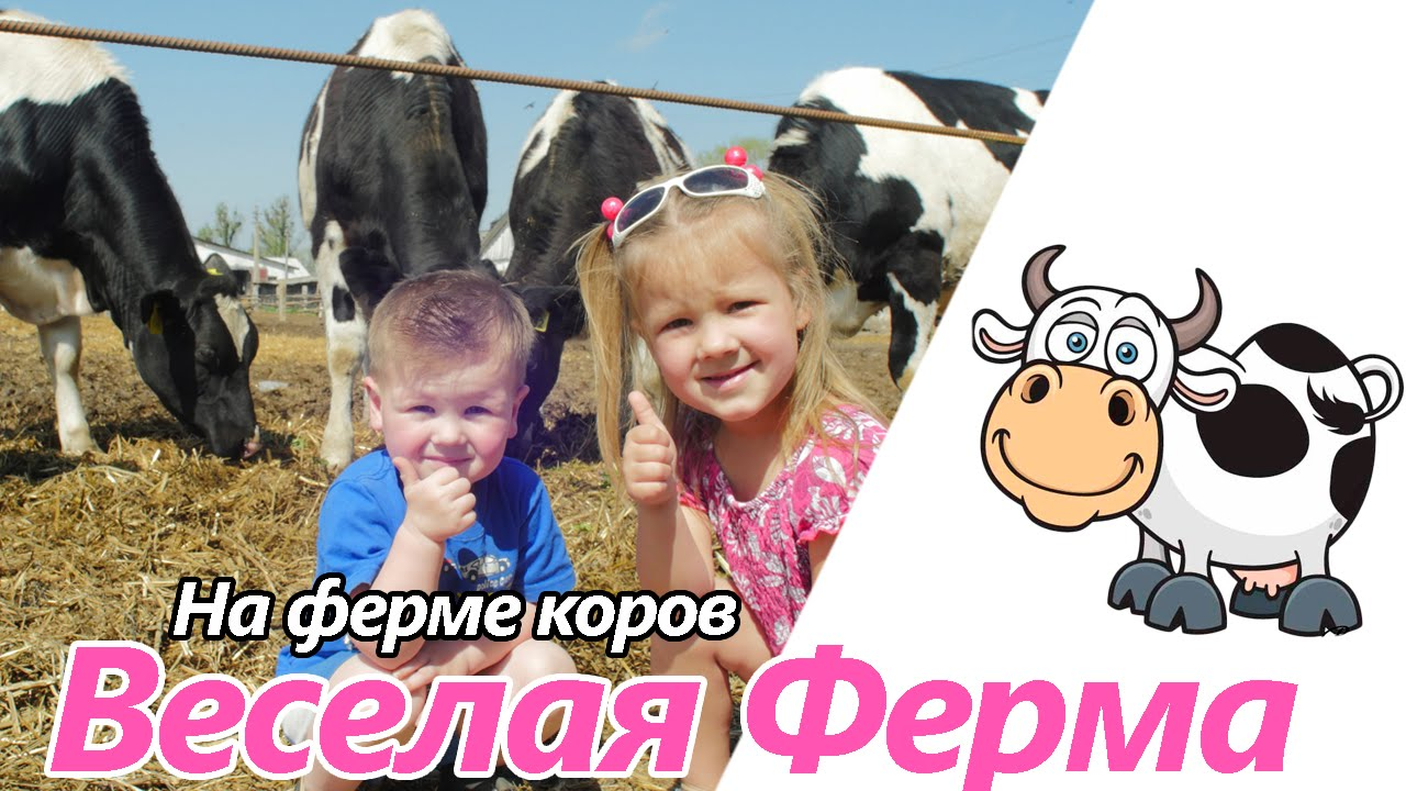 Сегодня мы на Веселой Ферме с настоящими коровками. Дети играют    Веселая Ферма. Дети Играют с Коровами на Ферме. Домашние Животные. Игра Супер Корова