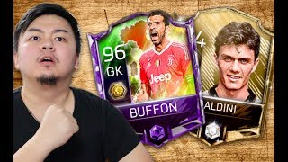 2 ITALIAN LEGENDS COMPLETED!! BUFFON AND MALDINI!! 95 OVR GAMEPLAY! FIFA MOBILE S2