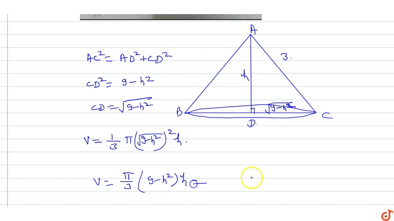 The slant height of a right circular cone is 27 cm. The height of the cone  if its volume is gre