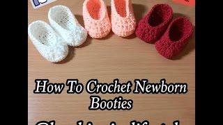 How To Crochet Simple Newborn Booties Tutorial