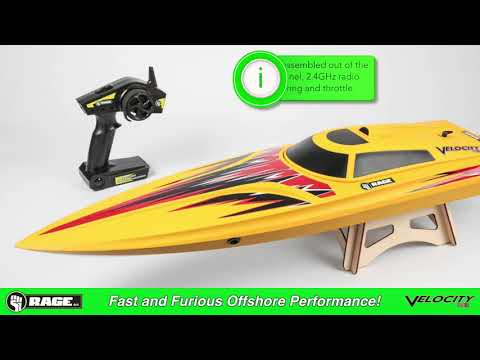 Rage RC RGRB1208 Velocity 800 Bl Brushless Deep Vee Offshore Boat Yellow
