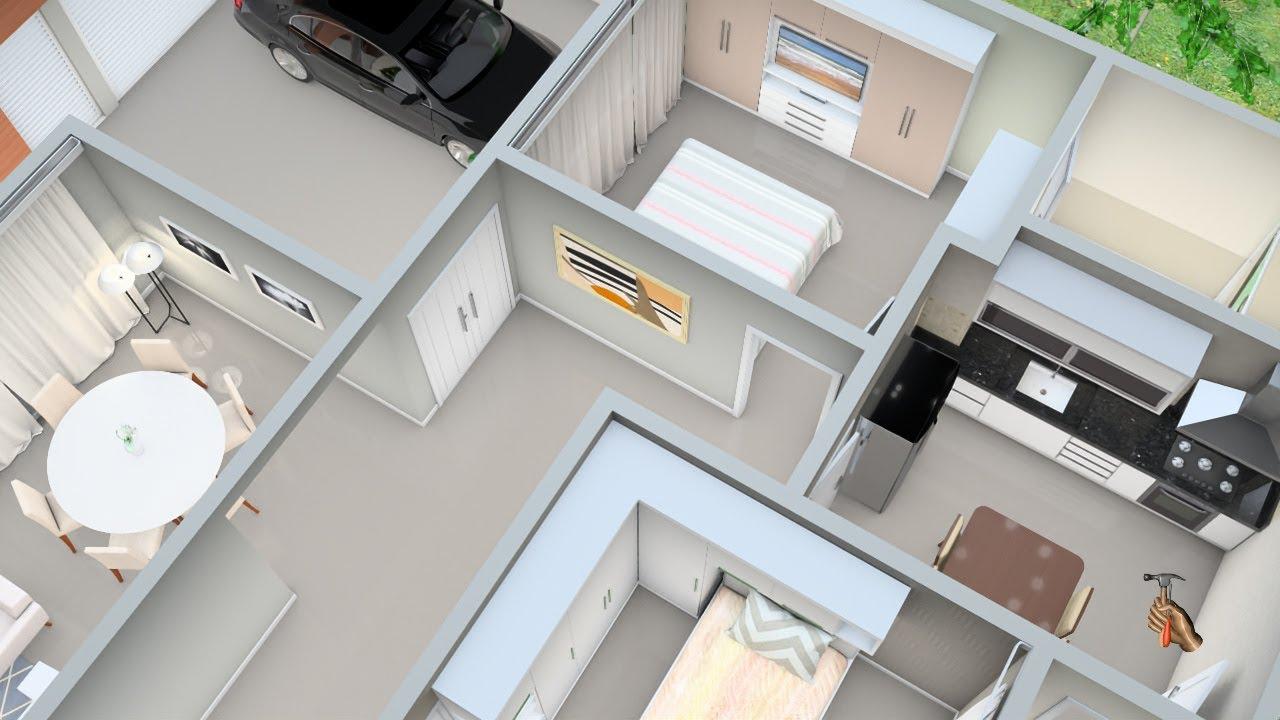 Planta de Casa 3D de três Quartos com Garagem