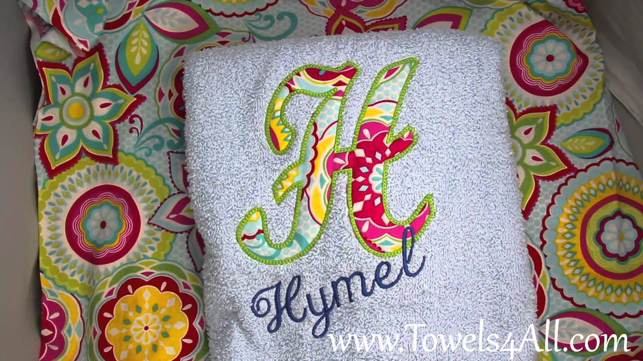 fabric applique letter and name bath towel video demo
