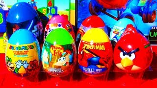 8 surprise eggs hello kitty toy story super mario spider man phineas ferb angry birds star wars