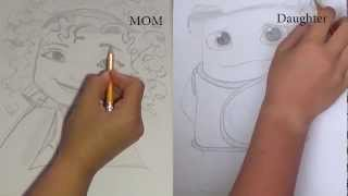 DRAW -OFF! Mom and Daughter draw Tip and Oh from the movie HOME! YOU JUDGE!