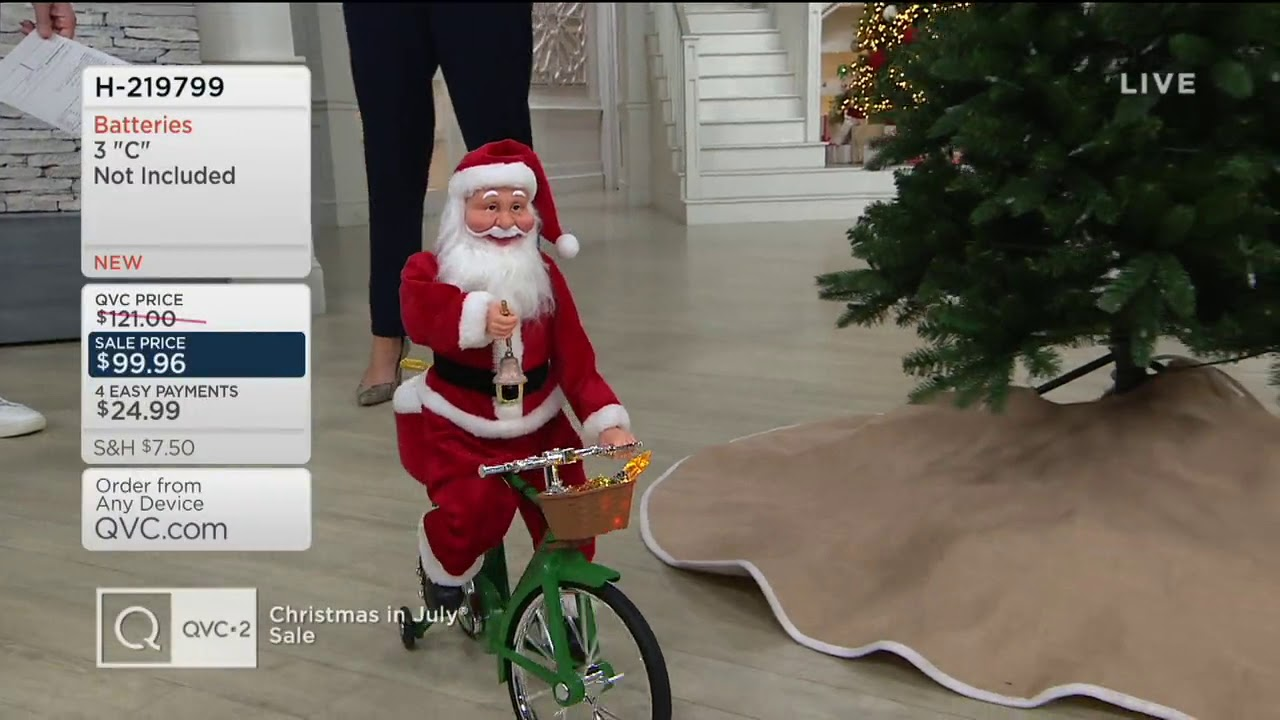 Christmas In July Qvc.Mr Christmas Animated Cycling Santa With Music On Qvc