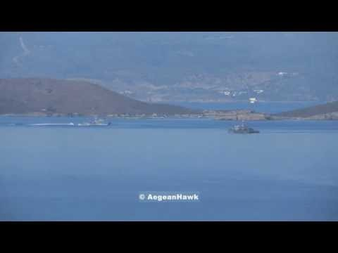 Hellenic Navy and Coast Guard patrolling around Oinousses islands in Aegean Sea.