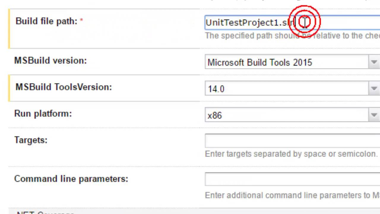 Parameters to msbuild and mstest in teamcity