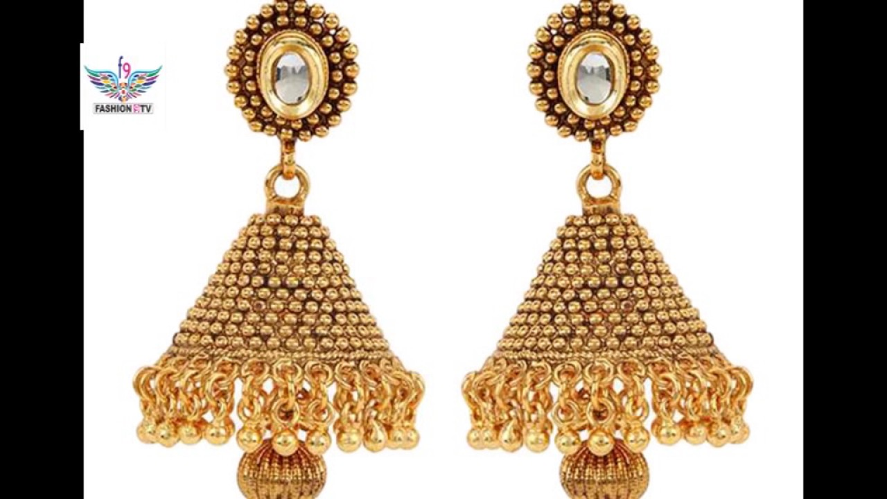 latest gold earrings designs/fashion9tv - YouTube