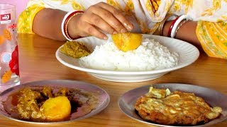 Eating Mutton Curry, Egg Omelette, Kochu Shak with Rice || Food Ninja