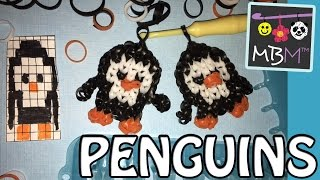 Penguin Charm made on the Rainbow Loom or Alpha Loom