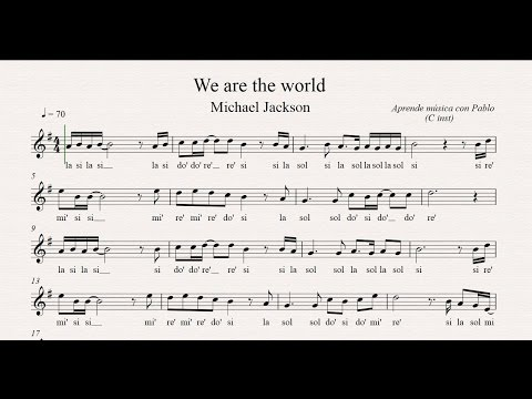 WE ARE THE WORLD: (flauta, violín, oboe...) (partitura con playback)