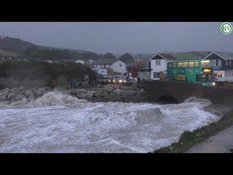 Storm Brian Newquay and Mawgan Porth, Cornwall.