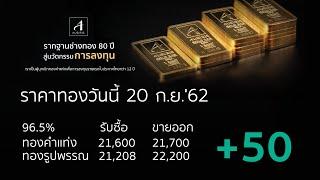 ราคาทองวันนี้ 20 ก.ย. 2562