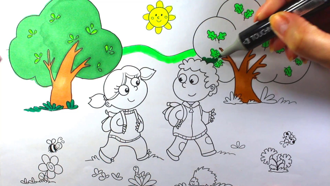 Coloring book school - Coloring Book School Girl And Boy In Forest Coloring Book
