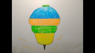 How to draw a spinning top step by step tutorial for kids