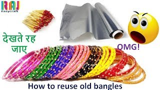 how to reuse old bangles    DIY art and craft     Room decor from old bangle # Raj easy craft