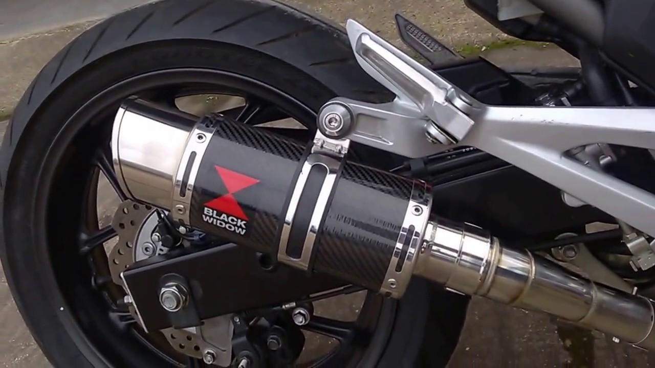 BLACK WIDOW EXHAUSTS NC 700 NC 750 INTEGRA RACE DE CAT ELIMINATOR EXHAUST 200CS - YouTube